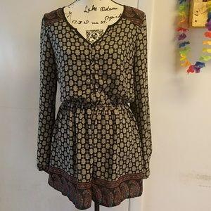 Mandala Paisley Long Sleeve Button Dress